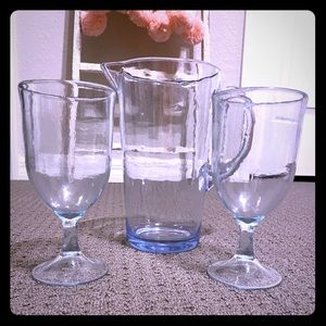 Other - New Clear Ice Blue Plastic Stemmed Glasses Pitcher